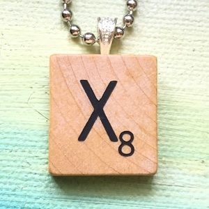 "Frost & Fire Jewelry - 1953 ""X"" Scrabble® Tile Initial Pendant Necklace"